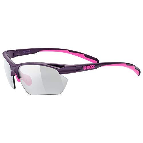 uvex Unisex– Erwachsene, sportstyle 802 V small Sportbrille, selbsttönend, schmale Passform, purple pink/smoke, one size