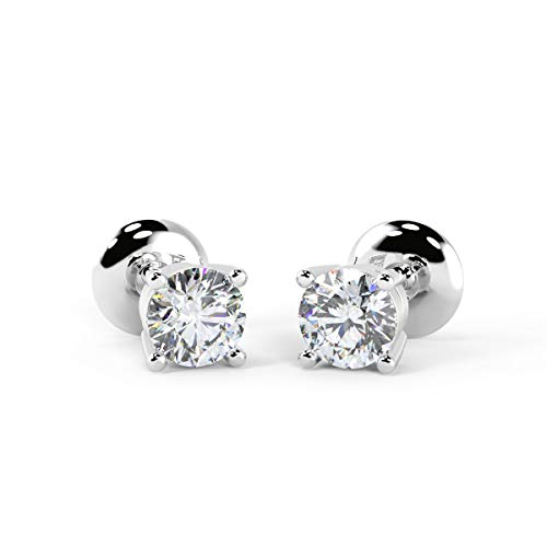 3 mm Each, 0.20 Carat Total Great Value Natural Diamonds Stud Earrings in 9k White Gold - Push Backs