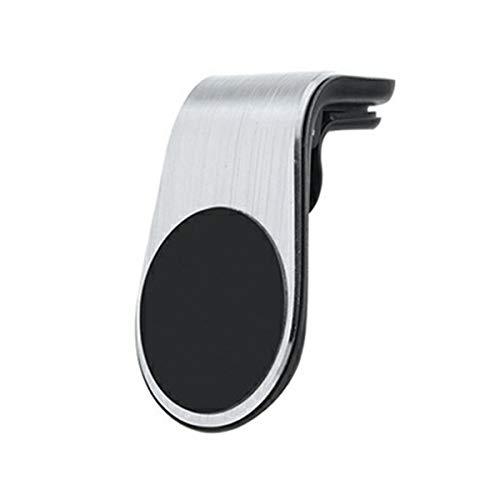 TYGA Store Soporte magnético para teléfono para coche, 1 paquete, 1 clip de ventilación tipo L, universal, compatible con iPhone 12 11 Pro XR XS Max X 8 Galaxy Note 10 S20 S10 (plateado)