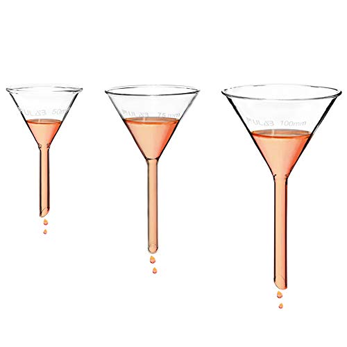 ULAB Scientific Glass Funnel Set, 1 of Each Size 50mm 75mm 100mm with Approx. 60° Angle, Short stem, UGF1009