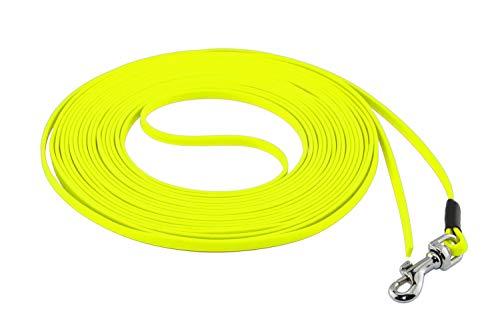 LENNIE Ultraleichte BioThane Schleppleine, 5mm, Hunde/Katzen bis 3 kg, 5m lang, ohne Handschlaufe, Neon-Gelb, genäht