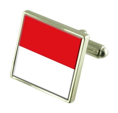 Select Gifts Monaco Boutons de manchette drapeau avec boîte de souvenir gravé