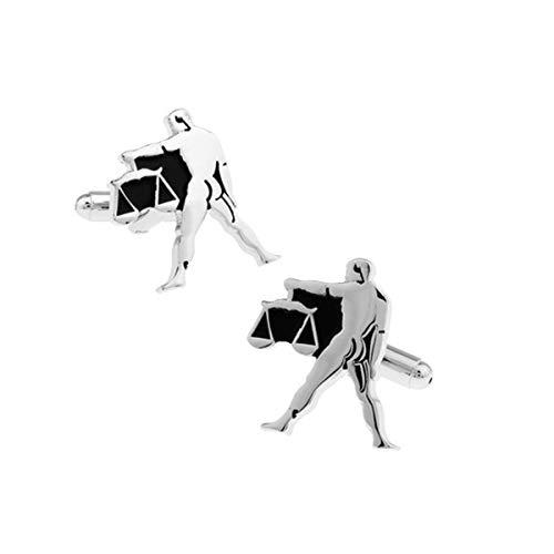 JiuErDP Gemelos constelación de Libra Mancuernas de los Hombres con imitación de Piel de cocodrilo Gemelos Box Gemelos