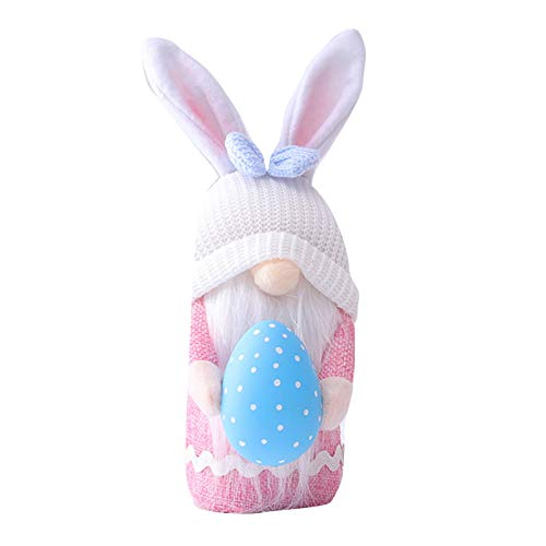 Shanji Easter GNOME Plush Dolls Themed Cartoon Dwarf Toy with Rabbit Ears&Egg Bunny Doll Festival Decor Gifts for Home Couples