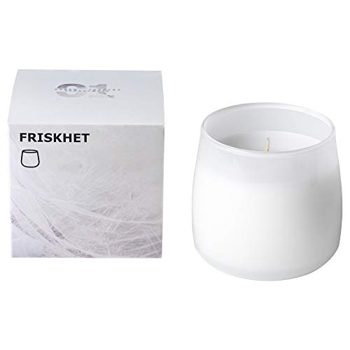 IKEA ASIA Friskhet - Vela perfumada en Cristal, Color Blanco y Blanco