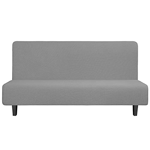 Easy-Going Stretch Sofa Slipcover Armless Sofa Cover Furniture Protector Without Armrests Slipcover Soft with Elastic Bottom for Kids, Spandex Jacquard Fabric Small Checks(futon,Light Gray)