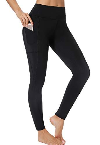 FITTOO Leggings Mallas Mujer Pantalones Deportivos Yoga Alta Cintura Elásticos y Transpirables Negro Mediana