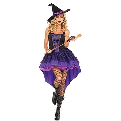 Halloween Hexe Kostüm Für Frauen Erwachsene Sexy Lila Schlucken Schwanz Zahnspangen Kleid Hut Karneval Party Weibliche Anzug (Color : A,...