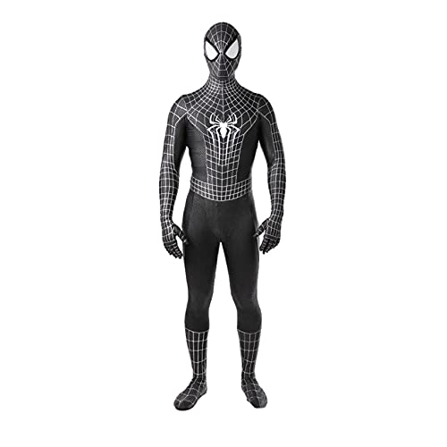 Venom Spider Man Symbiote Costume Kid Adult Halloween Party Suit School Superhero Day Disfraz Película Juego de Roles Body Stage Prop Onesies,Black-Kid (95~115cm)