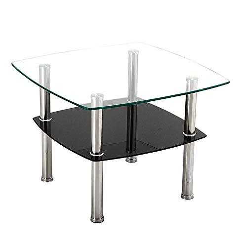 Tables FEI - Bureau d'ordinateur d'appoint carrée en Verre Transparent en Acier Inoxydable avec étagère de Rangement Noir pour Tous Les postes de Travail (Couleur : Noir, Taille : 60 * 60 * 45cm)