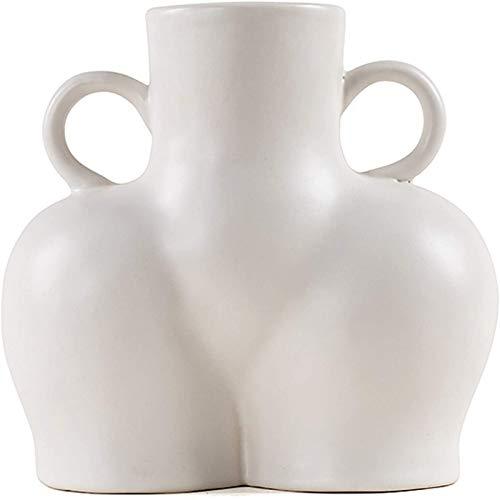 LGYKUMEG Vase für Pampasgras KöRper Blumenvase Vase Keramik Weiß Matt Moderne Wohnzimmer Boho Deko GroßE Vase Handmade Vase FüR Trockenblumen,Wohnzimmer BüRo Tisch Fensterbank Deko,Weiß,17.5 * 18.5cm