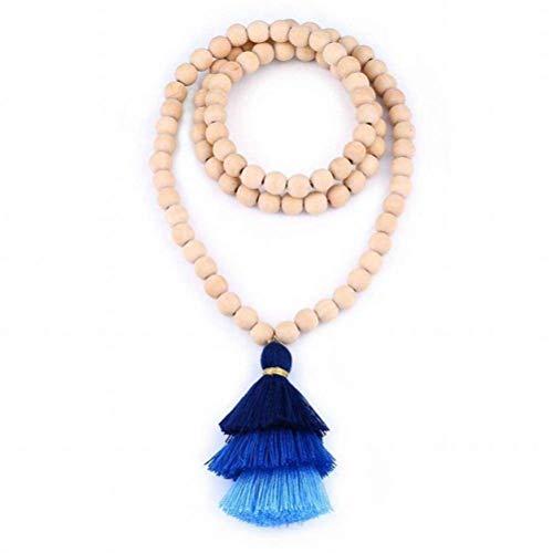 ACZZ Collar de cuentas de madera de moda Collar de cadena de suéter de borla larga gradiente Joyas hechas a mano, azul, 89 cm de largo