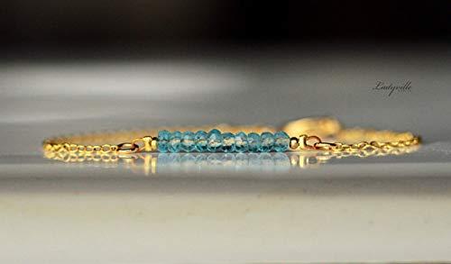 Edelstein Armband Personalisierbar/Geschenk für Sie/Topas Armband/Geburtsstein Schmuck/Armband gold/Geburtstein November