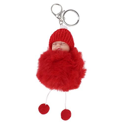 Amosfun Schlüsselanhänger aus Kunstfell, Puppe mit Schlüsselanhänger, Babyanhänger, Fellball, Tasche, Anhänger, für Auto, Schlüssel, Geldbörse, Tasche, Dekoration, Blassrosa, rot, 7.5 * 7.5 * 14.5CM