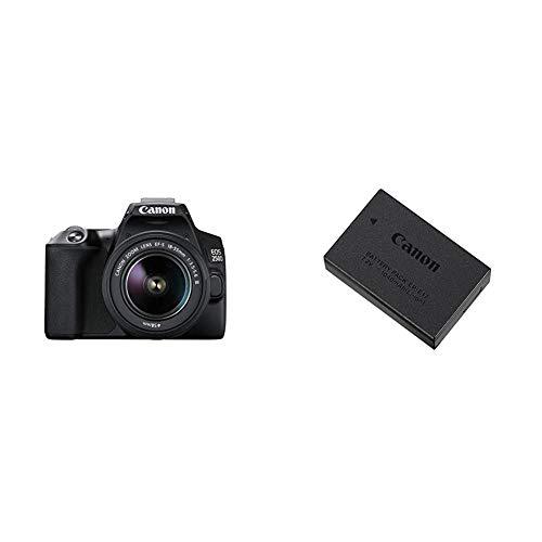 Canon EOS 250D Digitalkamera 241 Megapixel 77 cm 3 Zoll Vari Angle Display APS C Sensor 4K Full HD DIGIC 8 WLAN Bluetooth mit Objektiv EF S 18 55mm F4 56 is STM 9967B002 Akku LP E17