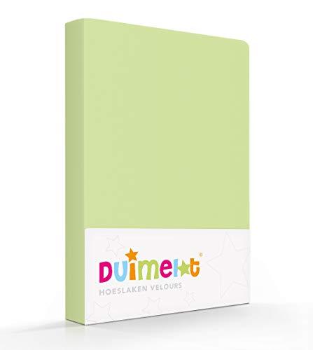 Duimelot Hoeslaken Lime Velours, 80% Katoen, 20% Polyester, 220 gr/m2 Baby hoeslaken/Junior hoeslaken 60x120/70x140/150