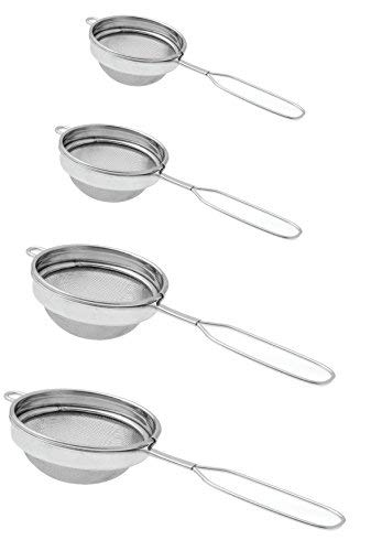 Set of 4 Classic Wire Handle Tea Strainers