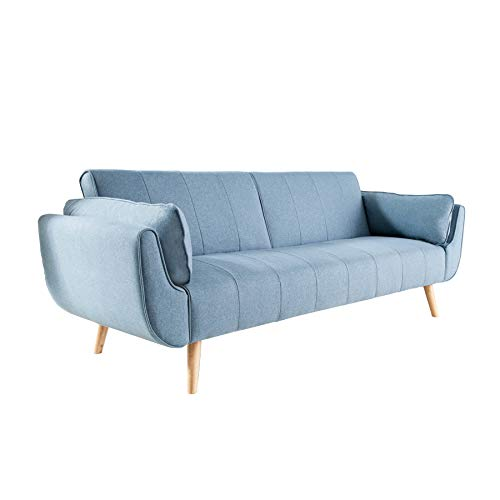 Invicta Interior Design Schlafsofa DIVANI 215cm hellblau Bettfunktion 3er Sofa Scandinavian Design Schlafcouch Schlaffunktion Couch