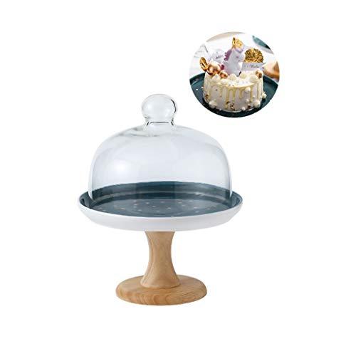 XZG-Geschirr Steak Teller Obstteller mit Holzsockel, Party-Dekoration Keramik-Gebäck Fach Glas Falafel Staub Dome Chip & Dip Server 20.7cm 8Inch Salat Platte (Size : 20.7 * 20.7 * 25CM)