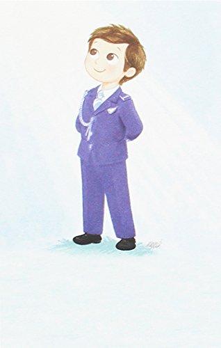 Mopec Estampa de Primera Comunión de un niño Vestido de Almirante Azul, Pack de 25 Unidades, Cartulina, Multicolor, 0.02x8.00x12.50 cm