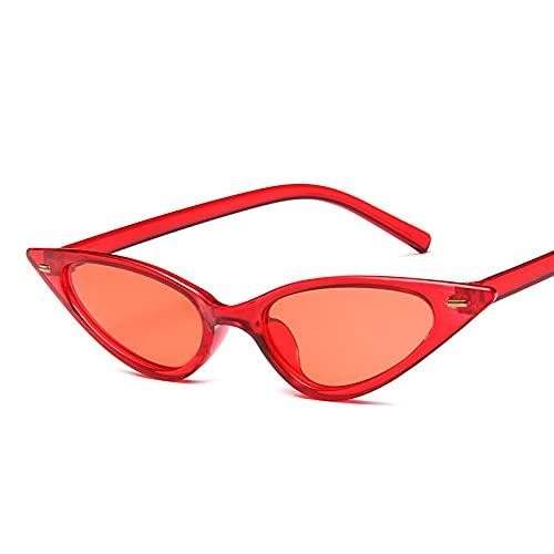 Gafas De Sol Gafas De Sol con Montura Negra De Ojo De Gato A La Moda para Mujer, Gafas De Sol Sexis De Diseñador para Mujer, Rojo para Mujer