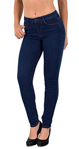 ESRA Damen Jeans Jeanshose Damen High-Waist Hochbund Hose bis Übergröße S400