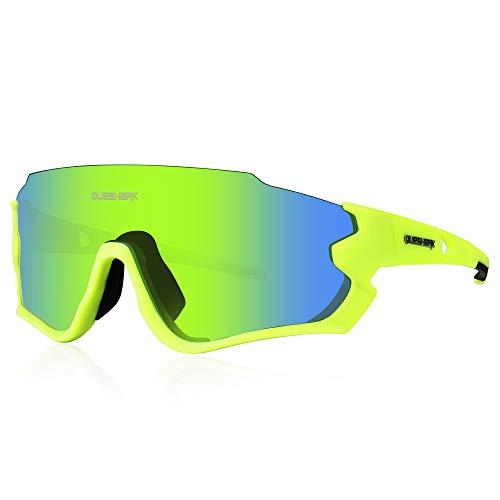 Queshark Polarizzati Occhiali Ciclismo con 4 Lenti Intercambiabili Occhiali Bici Occhiali Sportivi da Sole Anti UV da Uomo Donna per Corsa,MTB QE44 (Verde)