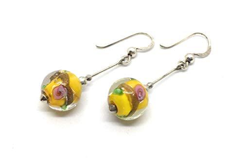 Pendientes amarillos cristal artesanal y plata