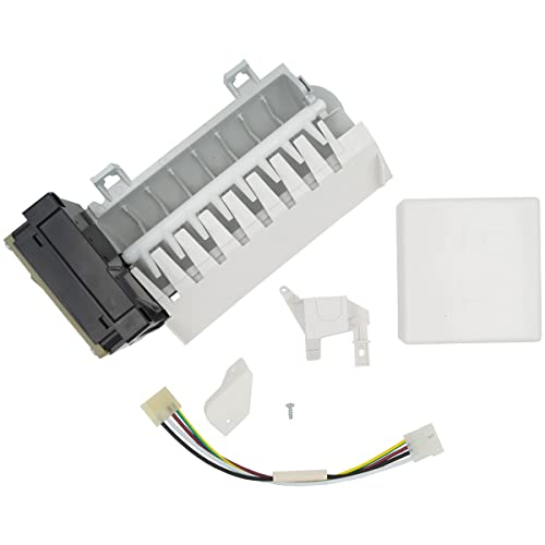 Supplying Demand 2198597 Refrigerator Freezer 8 Cube Ice Maker Assembly With Wiring Harness Replaces W10122502, W10190960 Works With Optic Boards W10757851
