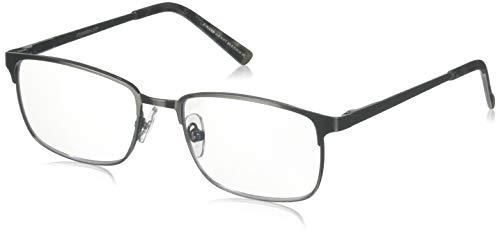 Foster Grant Men's Braydon Multifocus Rectangular Reading Glasses, Gunmetal/Transparent, 54 mm + 2.75