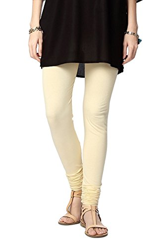 Ladyline Womens Long Premium Cotton Leggings with Double Stitches Free Size Upto XXXL Churidar Style Yoga Mothers Day Gift, Cream, One Size