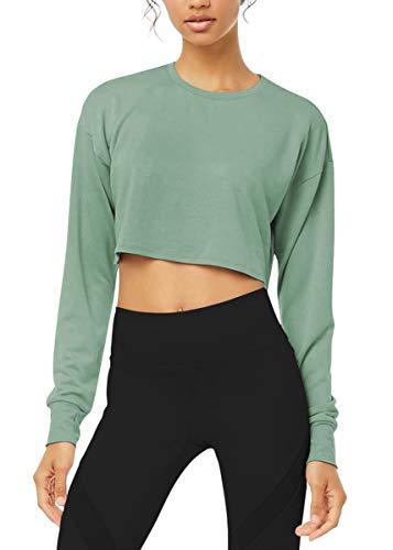 Bestisun Cropped Long Sleeve Tops for Women Crop Sweatshirt Long Sleeve Crop Top Gray Green M