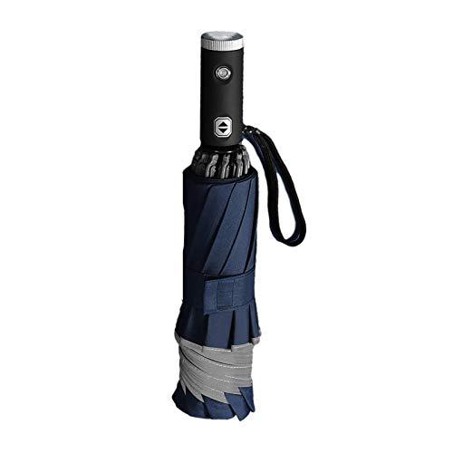 Paraguas resistente al viento, paraguas plegable compacto, apertura automática, mango de linterna LED, correa reflectante de seguridad (multicolor)
