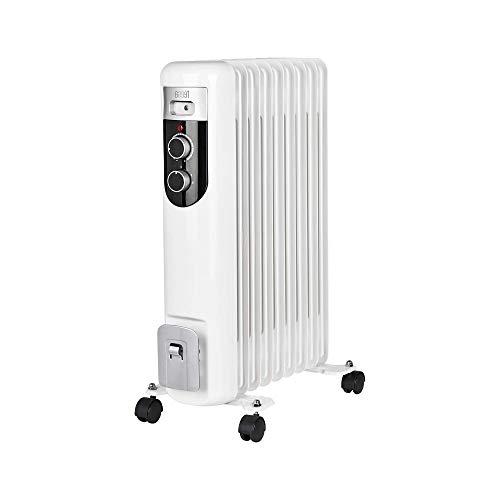 Teesa TSA8036 Elektrische olieradiator 2000 W (9 ribs), radiator met thermostaat, 3 warmtestanden, wit