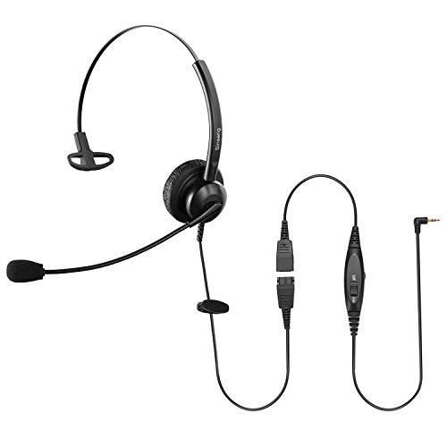 Sinseng 2.5mm Monaural Telephone Headset with Noise Canceling Mic & Mute Switch, Call Center Headphones Compatible with Ciso SPA Panasonic KX Series AT&T Vtech Uniden Grandstream Cordless Phones