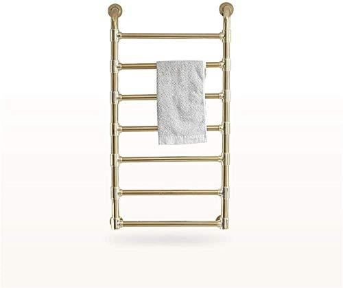 Rieles para toallas con calefacción Calentador de toallas montado en la pared, Calentador Estantes de secado eléctricos con calefacción para baño Acero inoxidable 7 barras Chapado en oro 200 Watt (Col