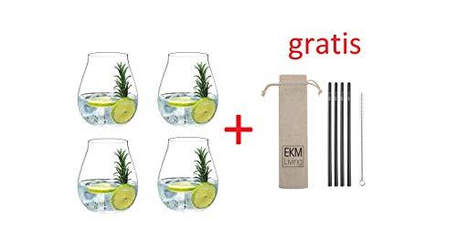 Riedel 5414/67 Gin Tonic Gläser Set 4 Stück + Gratis 4er Set EKM Living Edelstahl Strohhalme (Schwarz)
