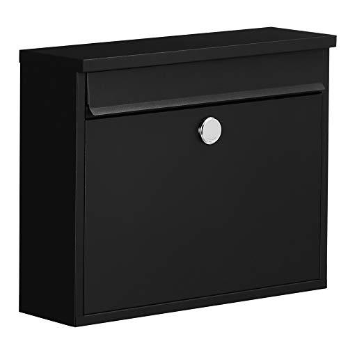 SONGMICS Briefkasten, Wandbriefkasten, mit Schlitz auf der Vorderseite, Kupferschloss und Zubehörpaket, für Hof- und Haustür, schwarz GMB010B01