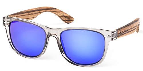 Bexxwell Sonnenbrille mit Echtholz-Bügeln, handgefertigt, UV-Schutz, polarisiert (Holz, Wood) (Transparent/Blau und Holz hell)