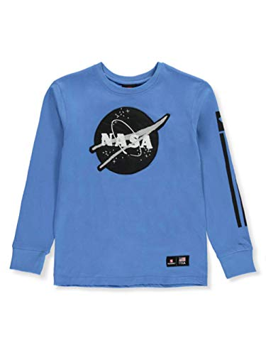 SOUTHPOLE Big NASA Collection – Playera de Manga Corta y Larga para niño, Logo Azul Cielo 2, Medium