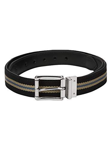 Red Tape Men Black Leather & Cotton Belt, Large (RBL518)