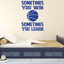 Vivityobert Vinilo adhesivo para pared de baloncesto con cita motivacional para deportes, dormitorio temático, sala de juegos u otros espacios de vida, color carbón
