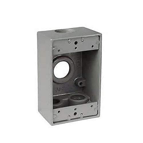 Master d'électricien DB50–3 Single Gang Deep boitier de prise de courant avec trois trous de filetage 1/5,1 cm IPT