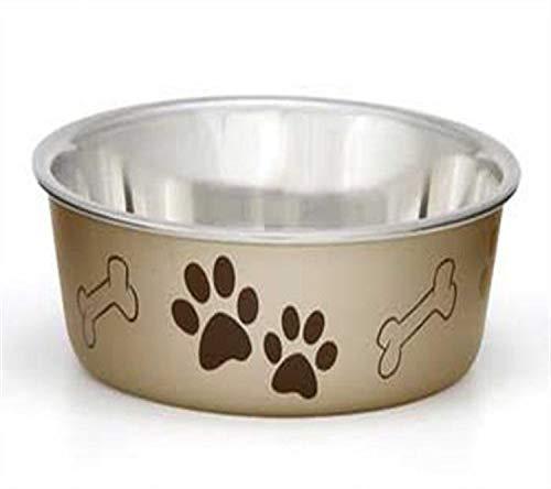 Liefhebbende Huisdieren Producten Metallic Bowl, Large, Champagne