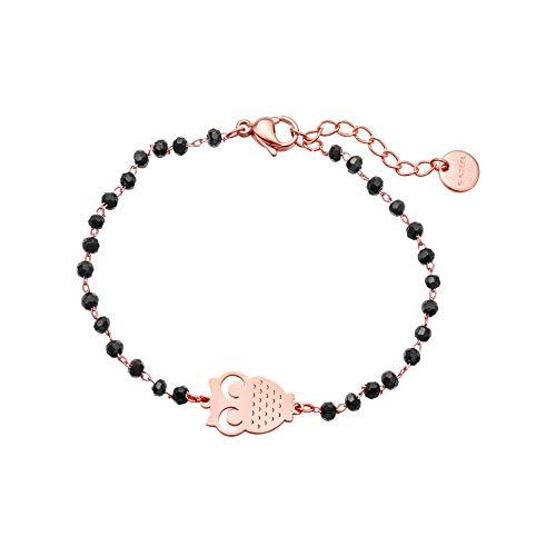 JinHan Pulsera para niña de la suerte con trébol de cuatro hojas, con cadena de cuentas de cristal negro, oro y plata, pulsera con colgantes hipoalergénicos, ajustable en oro rosa Búho Oro Rosa
