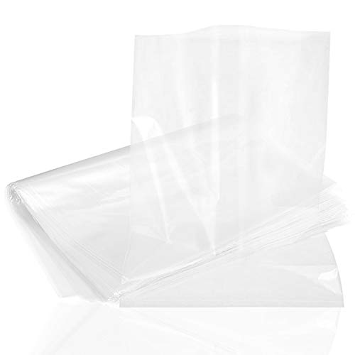 Plastic Flat Open Poly Bags,100 Pack Clear Polyethylene Bags Plastic Fish Bags for Proving Bread, Dough,Food, Clothes, Packaging and Storage (18 x 24 Inches)