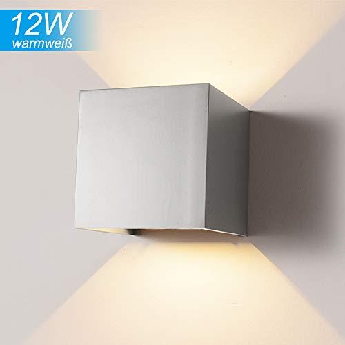 Elitlife Wasserdichte Wandleuchte, 12W 85-225V Verstellbare Aluminium Wandleuchte LED für Innen- und Außen WarmweißLicht mit 2 LEDs [Energieklasse A+++]- Grau