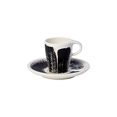 Villeroy & Boch Coffee Passion Awake Espresso Cup & Saucer Set, 3 oz, Premium Porcelain, Black / White