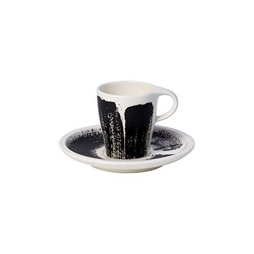 Villeroy & Boch Coffee Passion Awake Espresso-Set, 2-teilig, Premium Porzellan, Schwarz/Weiß