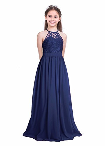 iEFiEL Girls Halter Lace Chiffon Flower Wedding Bridesmaid Dress Junior Ball Gown Formal Party Pageant Maxi Dress Navy Blue 14